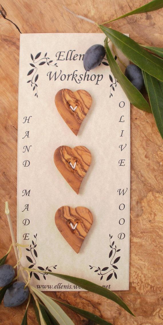 Hand made Greek olive wood heart shaped buttons by ellenisworkshop, $19.00