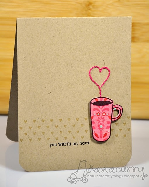 """Used thin cuttlebug embosser and coffee cup with word stamp, """"sending you a warm hello""""  Fun!"""