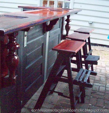 Here's a creative idea.  Make an outdoor or basement bar out of old/re-purposed or vintage doors.  door decor.  interior design. vintage doors.  repurposed doors.  man cave.  outdoor bar.