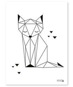 Nursery Poster 'Origami Fox' black and white 30x40cm