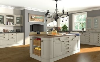 Traditional style kitchen from the Pronto range. Oakgrain Mussel Kitchen - By BA Components.