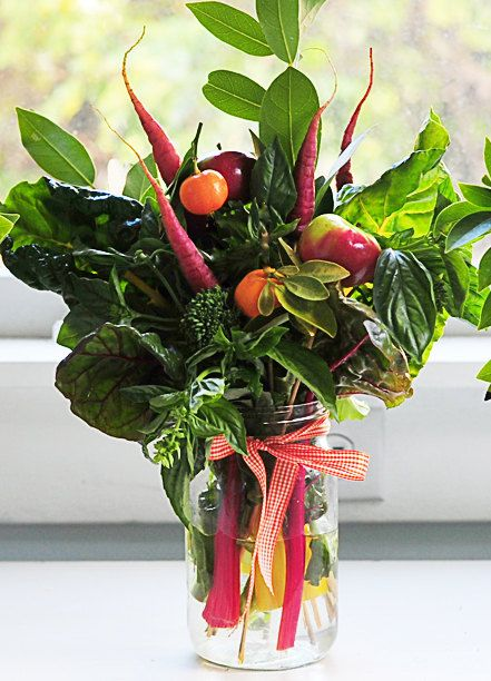 Organic Edible Bouquet  made from Fresh Herbs and Veggies. $48.00, via Etsy.