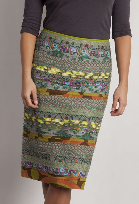 Cotton cambric  pencil skirt created with tier upon tier of printed fabrics.  Back zip and split.WAS $129 SALE PRICE $90