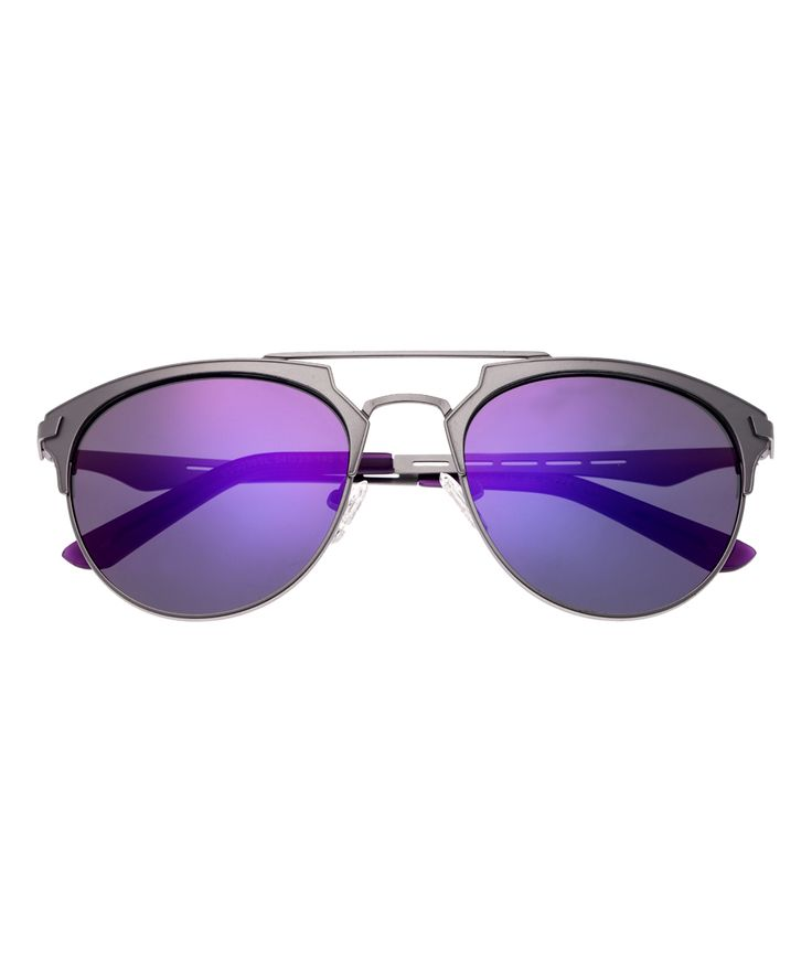 Silver & Purple Hercules Titanium Browline Sunglasses