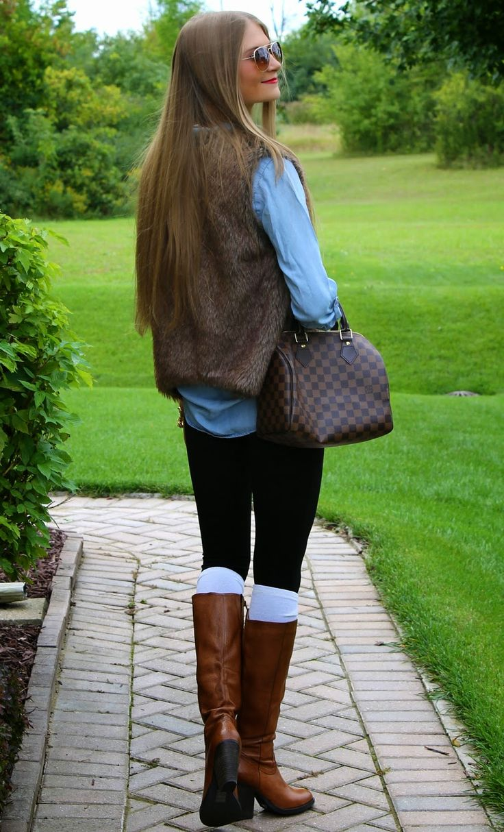 Chambray + Fur + Steve Madden Boots + Louis Vuitton Speedy 25