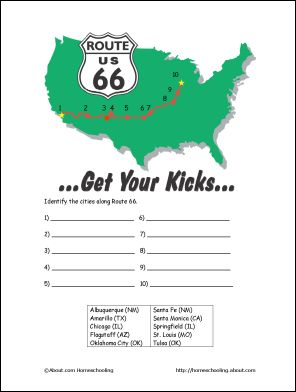 Route 66 Printables: Route 66 Map Activity