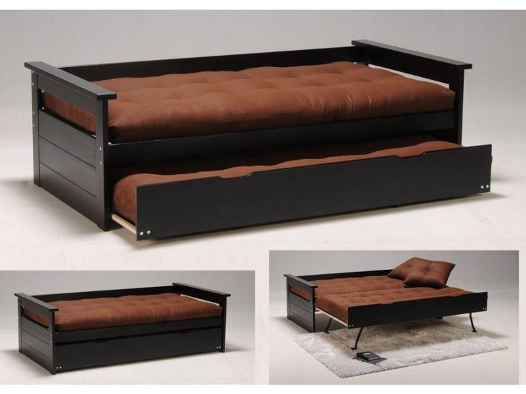 Bett mit Bettkasten Alfonso - 90x190cm - Schwarz günstig