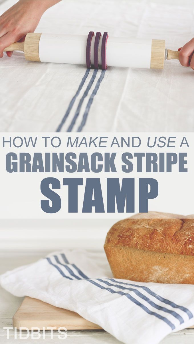 Take plain old flour cloth and create your own Grainsack Stripe with a #diy stamp and rolling pin from Tidbits