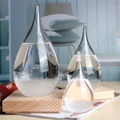 Tempo Drop Weather Forecasting Storm Glass.The appearance of the liquid transforming from clear to cloudy to crystal flakes predict whether the weather will be clear, cloudy, or filled with thunderstorms.