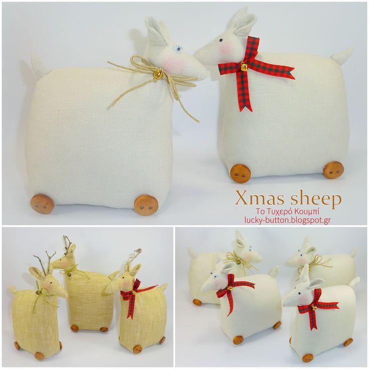 Xmas sheep, υφασμάτινο προβατάκι, Tilda