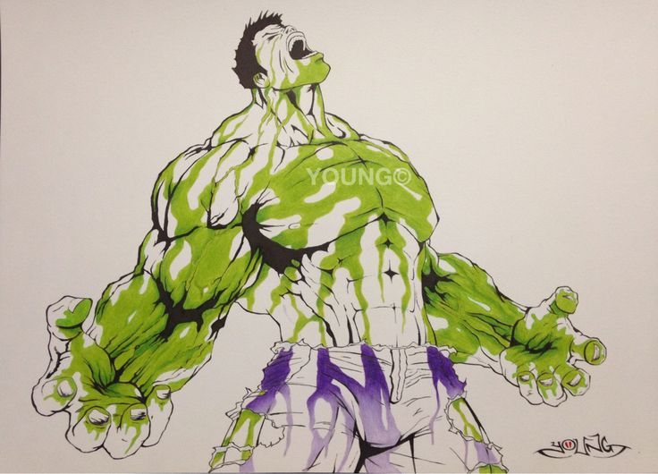 Hulk A3  Pen and Coloured Pencil