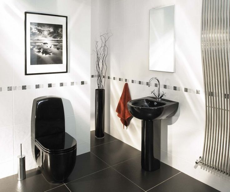 Captivating ... White Bathroom Idea With White Wall Paint Color And Black Ceramic Floor  Tiles Also Wall Mounted Mirror And Art Also Black Sink And Black Toilet  Design