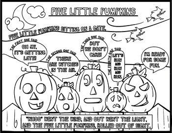 5 little pumpkins coloring page - five little pumpkins color sheet coloring pages