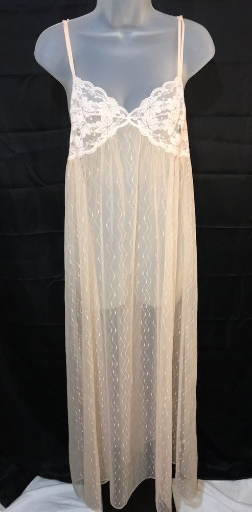Vintage Val-Mode Pale Pink Sheer Nylon Long Flowing Small Nightie Lace Ripped  #ValMode