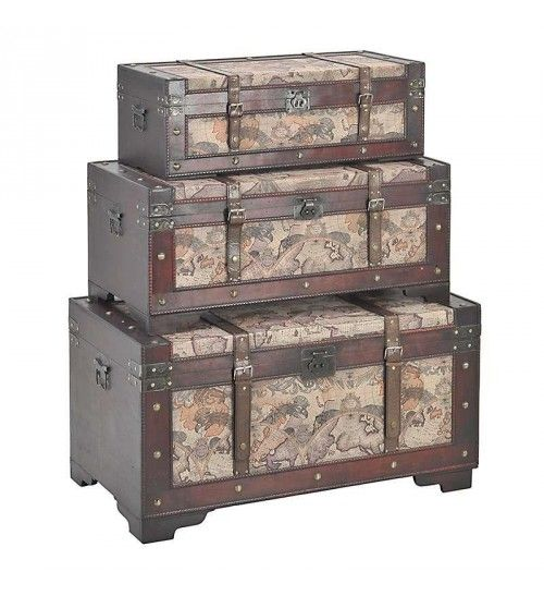 S_3 WOODEN_PU TRUNK W_GLOBAL MAP 90X50X45
