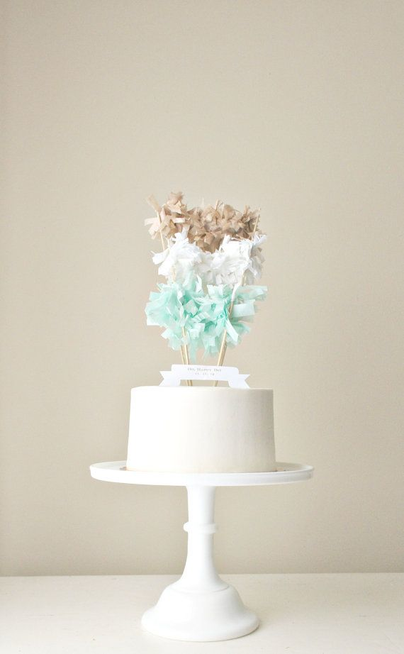 Multi-Fringe-Garland Cake Topper (You choose colors) with Custom Banner. Color Blocking Meets Cake.
