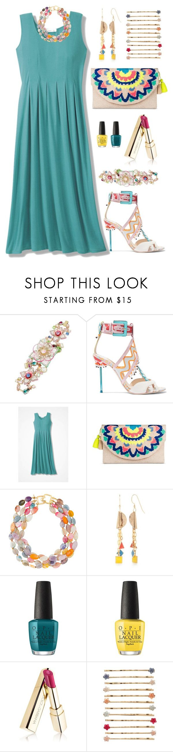 """Tealdrop"" by indirareeves on Polyvore featuring Betsey Johnson, Sophia Webster, Merona, Kenneth Jay Lane, Silver Forest, OPI and LC Lauren Conrad"
