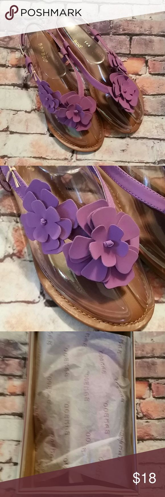 New BAMBOO Purple Sandals 8 Brand new, in box.  Bamboo purple sandals.  Flirty flowers! Bamboo  Shoes Sandals