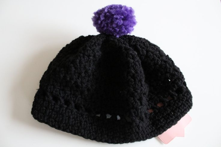 Ladies handmade black and purple bobble hat, crocheted beret, wooly beanie, gift for woman, gift for sister, gift for female friend by serendipitygiftfinds on Etsy