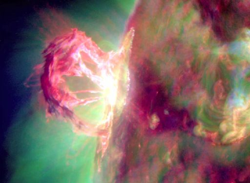 Magnetic fields on the sun's northeastern limb erupted around 17:45 UT on April 16, 2012, producing one of the most visually-spectacular explosions in years. NASA's Solar Dynamics Observatory recorded the blast at extreme ultraviolet wavelengths