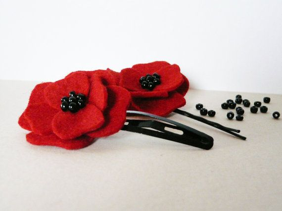 red poppy hairclip set felt girls hairpin flower by myRainbowWorld