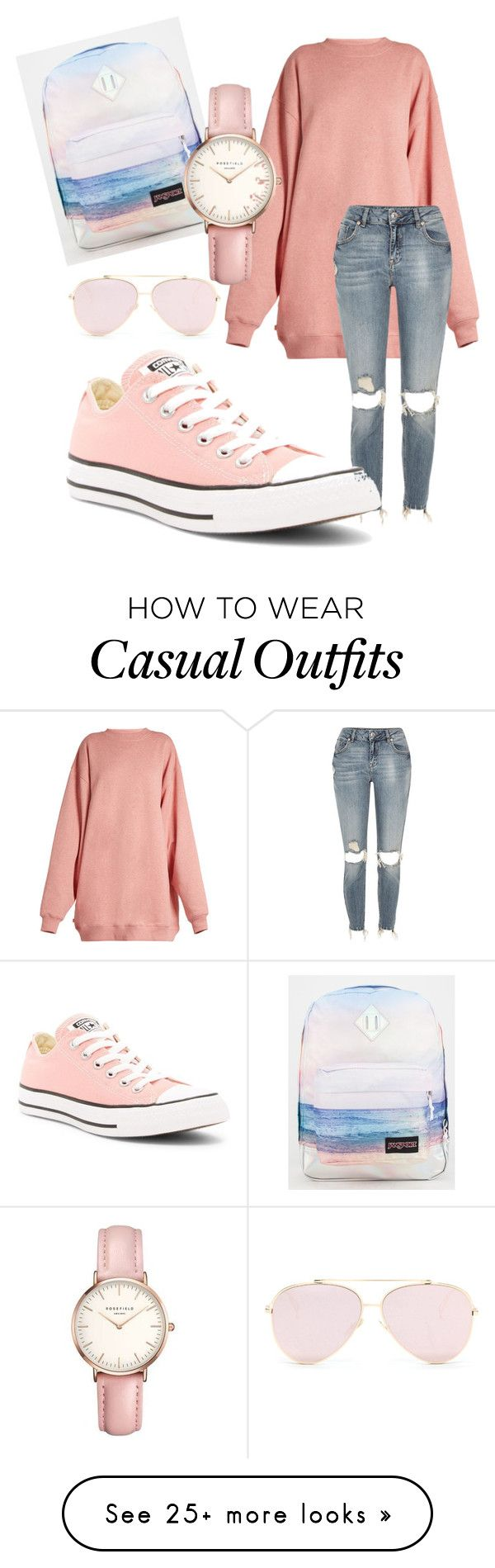"""""""Pink Casual"""" by csyork on Polyvore featuring Acne Studios, River Island, JanSport, Converse and Topshop"""
