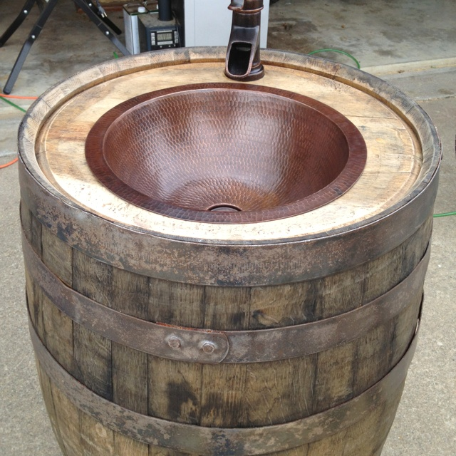 Whiskey barrel sink home sweet home pinterest for Whiskey barrel bathtub
