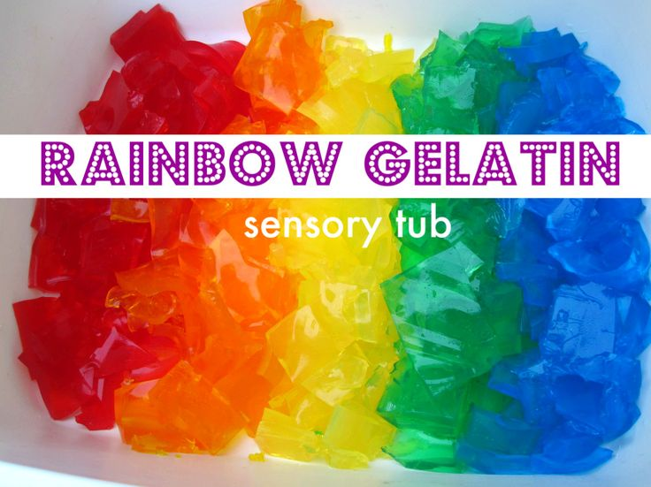 Rainbow Gelatin Sensory Tub- seriously fun and not too messy. What was the last gooey fun thing you did with your kids?: Sensory Table, Idea, Gelatin Sensory, Sensory Tubs, For Kids, Rainbows Gelatin, Preschool Lessons, St. Patrick'S Day, Sensory Plays