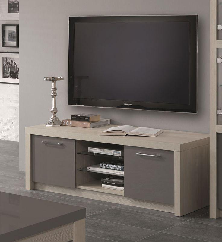 Meuble TV couleur chêne blanchi et gris laqué moderne GAIA