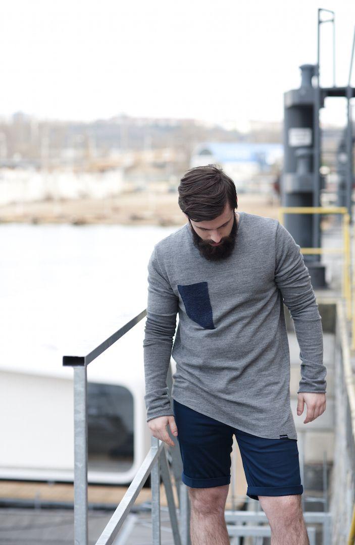Woad - pánský svetr s asymetrickým dolním krajem