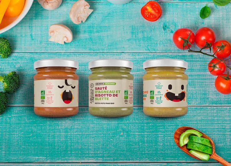 identidad gráfica de alimentos orgánicos para bebés. Cada frasco con una ilustración diferente, para las distintas edades de los bebés