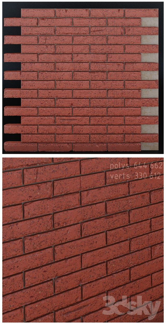 Seamless brick wall with chipped