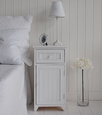 Maine white bedside cabinet with drawer and cupboard