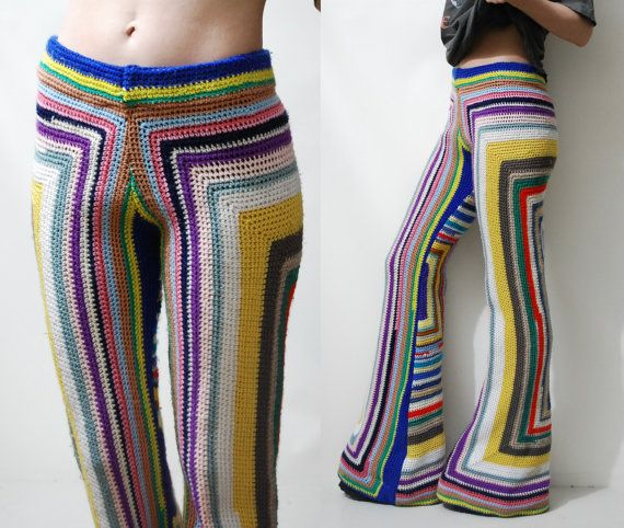 CROCHET Granny Square Pants FLARES Bells Rainbow by cruxandcrow                                                                                                                                                                                 More