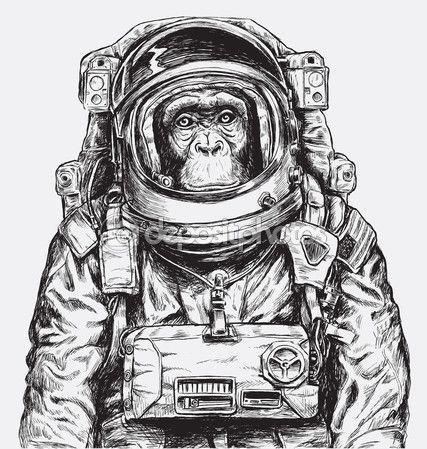 Main dessinée Monkey astronaute Vector — Illustration #123303808