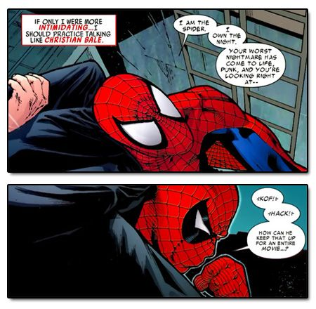 Amazing Spider-Man #589 - Peter Parker does his best Christian Bale voice. Another reason to love him.