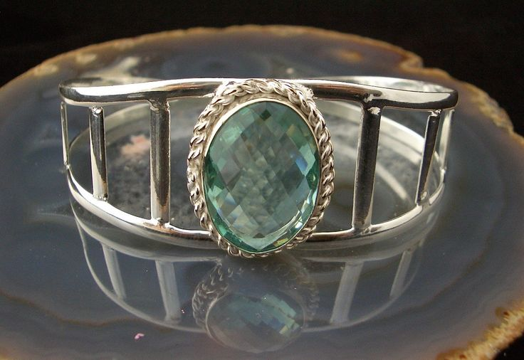 925 Solid Sterling Silver, Blue Clear Large Facet Oval Light Blue-Green APATITE Quartz, Bangle Fashion Bracelet Jewellery! by…