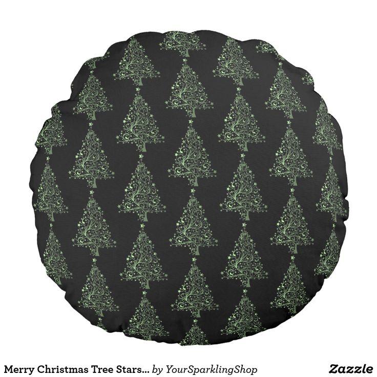 Merry Christmas Tree Stars Black Green Pattern