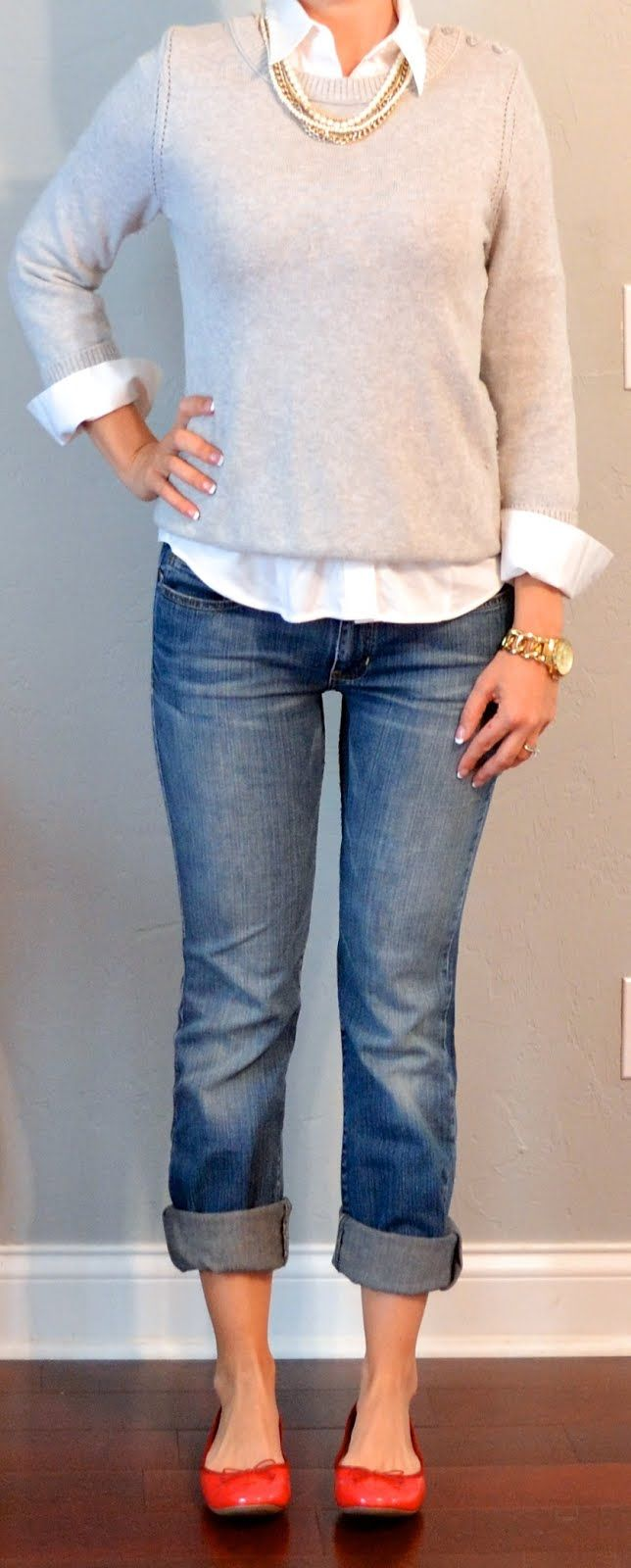 white button down shirt, grey sweater, boyfriend jeans, red ballet flats