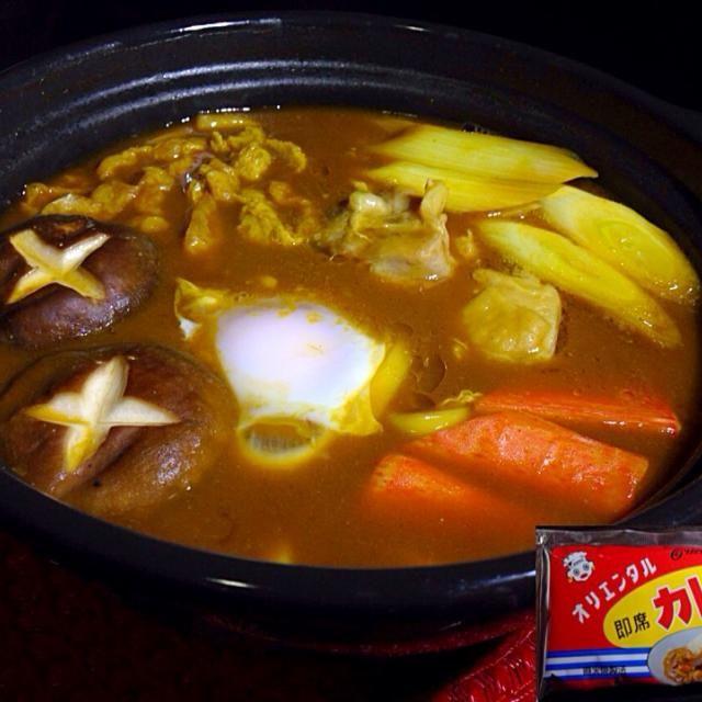新名古屋めし、カレー味噌煮込みうどん  カレールーはオリエンタル即席カレーを使用  オリエンタルカレーのサイトレシピを参考にしています http://www.oriental-curry.co.jp/recipe/detail/curry_misoudon.html - 76件のもぐもぐ - カレー味噌煮込みうどん by kedent17