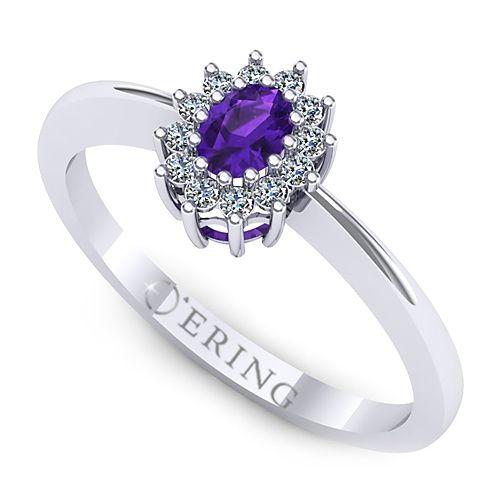 Inel logodna L36AAM inel cu ametist si diamante