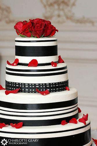 Red, white, and black wedding cake, via Flickr.