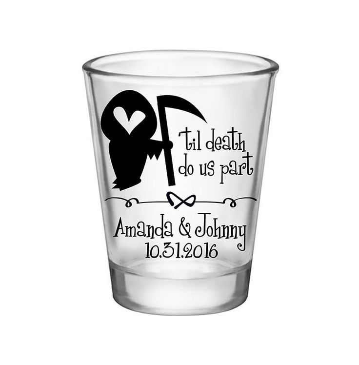 "100x Custom Shot Glasses Halloween Wedding Favors | 1.75 oz Clear | 'Til Death Do Us Part (1A) | by ""ThatWedShop"" on Etsy 