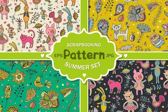 Summer patterns set by Sofimix on @creativemarket