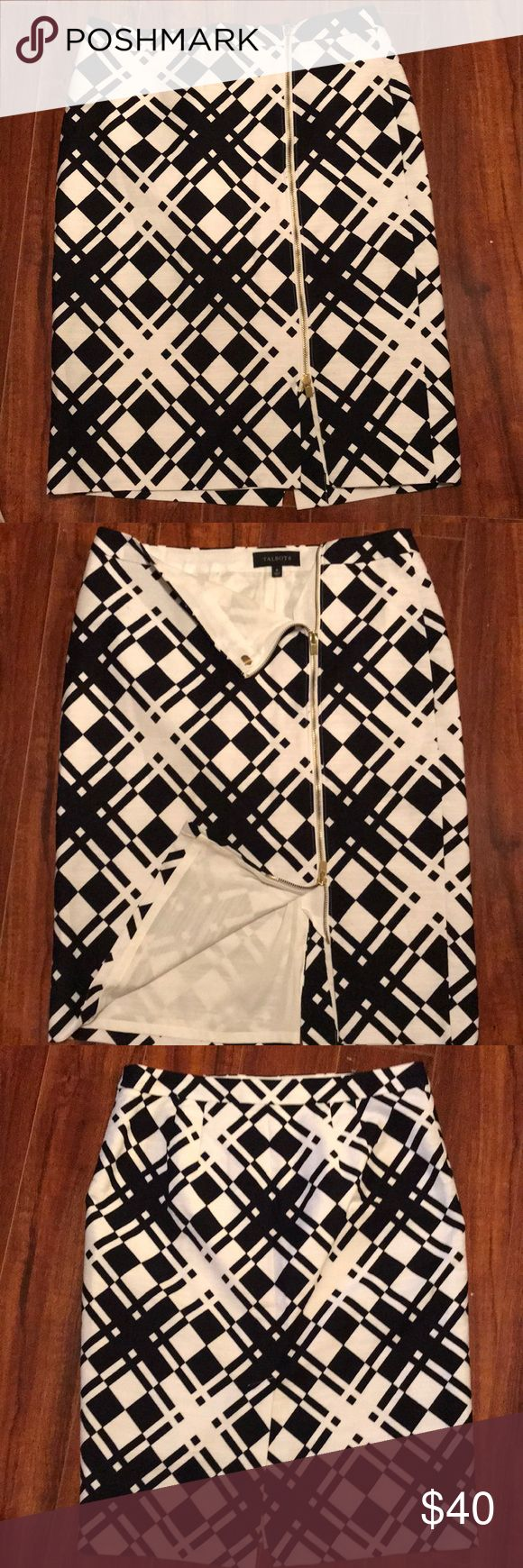 Asymmetric zipper skirt Talbots black and white print skirt. Gold zipper detail in the frount, leading to a small split. Nice curve to butt in the back and split in the back as well. Talbots Skirts Pencil