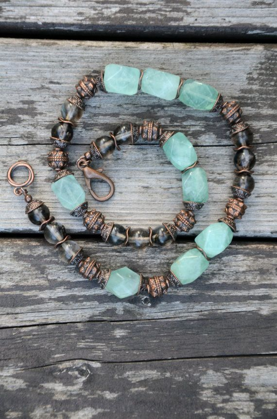 Handmade semi-precious gemstones and copper necklace - lobster clasp