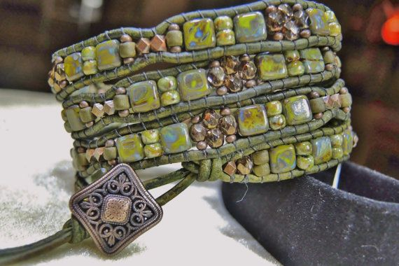 Old COPPER & GREEN Picasso 4 Wrap Leather Bracelet featuring Green Picasso CzechMatesTile,Cinnamon Fire Polished Beads,Copper Beads/Button on Etsy, $78.00