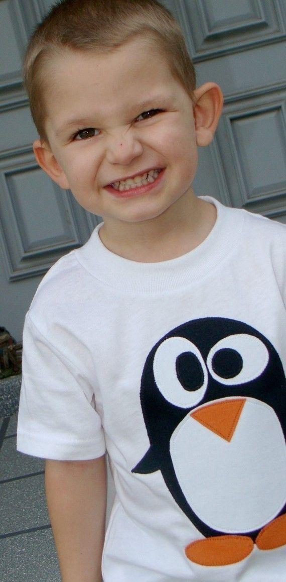 Camiseta bebé con aplicación pinguino penguin applique