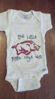 This is just darling! Good thing the baby bubble with my friends is exploding again. Arkansas Razorback Onzie. via Etsy.