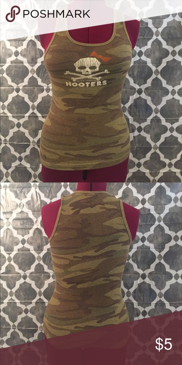 Hooters Camouflage Tank Top Gently worn but still super cute. Tops Tank Tops